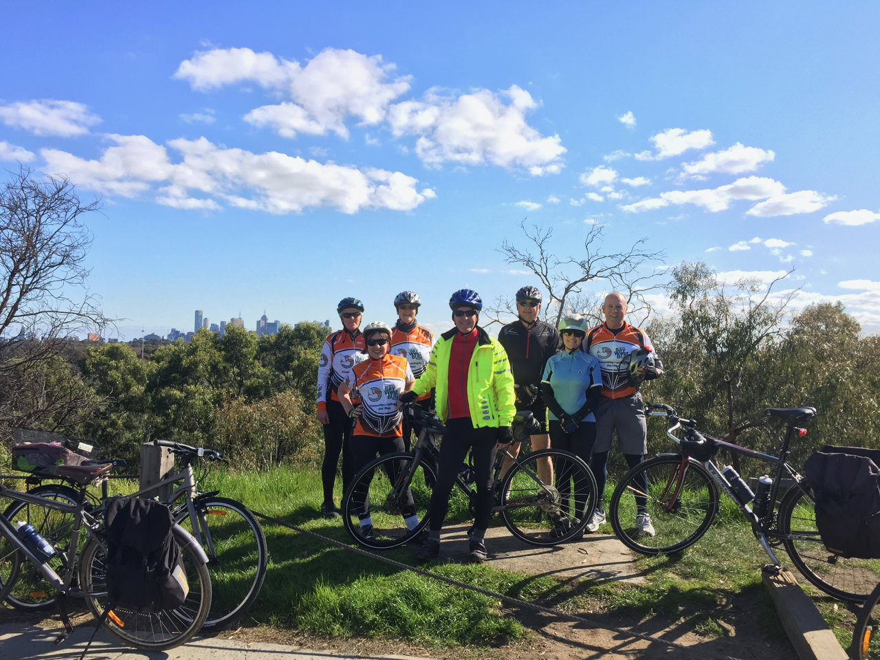 Enjoying city views at Wurundjeri Spur lookout on the Main Yarra trail.