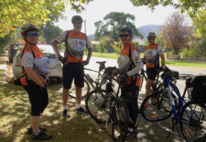 Myrtleford - heading off on the rail trail