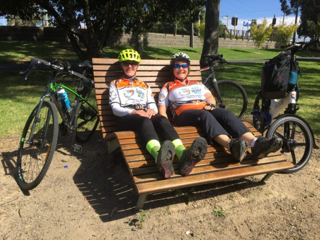 Relaxing at Coburg Lake after riding the Upfield Trail.